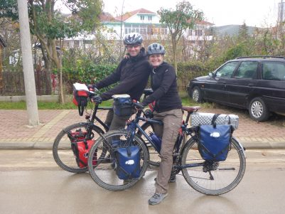 Hugo and Bego who have ridden from Spain on their way around the world.