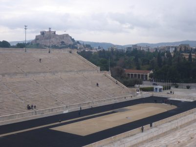 Pananthemic stadium with Acropolois in the background